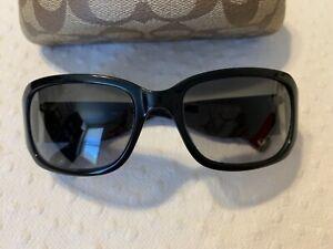 COACH LEXI Black/White Pinstripe Trim Sunglasses in Case Womens S493