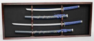 Sword Display Case Cabinet Stand Holder Wall Rack - Lockable door, KCS08