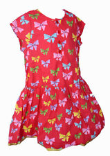 Happy by Pink Chicken Girl's Size 6Y Red Dress Colorful Bows 100% Cotton, NEW