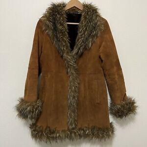 Vintage Suede faux fur lined Penny Lane leather long coat jacket S brown boho