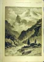 Original Old Antique Print 1891 Switzerland Wetterhorn Mountain View Victorian