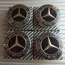 4x Mercedes Black Alloy Wheel Centre Hub Caps 75mm A B C E S M Class ML CLA GLA