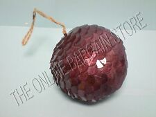 1 Pottery Barn WEST ELM Capiz Paillette Christmas Holiday Ball Ornament Plum