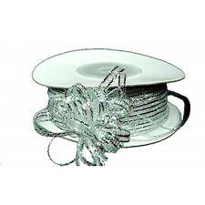 3mm 1/8 Organza Pull bow ribbon  silver metalic 50yd