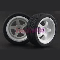 4PCS RC 1:10 On Road Car Foam Rubber Tyre Tires White Wheels Rim 6034-8010