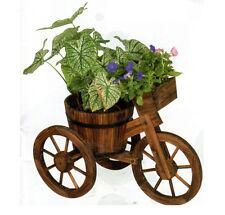PORTAVASO FIORIERA BICICLETTA legno scuro fiori coprivaso Triciclo giardino h58