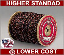 7/16 600 Feet Poly Standard Truck Rope Black Orange Trace Fastening Binding