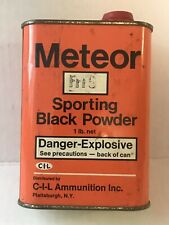 Vintage Meteor Black Gun / Rifle Powder Tin Advertising Empty Very Good Cond