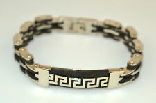 "MENS HEAVY STAINLESS STEEL BLACK RUBBER LINK GREEK KEY BRACELET 8.5"" 40.7 GRAMS"