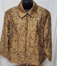 Anage Womens 100% Silk Gold/Black Paisley/Bead Design Lined Jacket Coat Size M