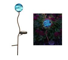 Solar Garden Light - Beautiful Aqua Globe Effect - Hand decorated - NEW