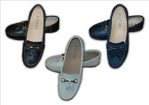 Ladies Shoes Comfort Leather Wedge Slip On Wide Fit Grey Nautical Sizes 3-8