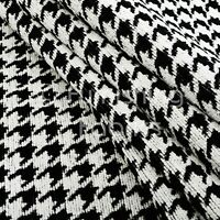Black White Check Dog Tooth Geometric Pattern Soft Woven Made Upholstery Fabric