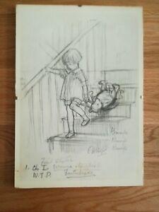 Vintage Early Disneya  Signed Winnie The Pooh Print