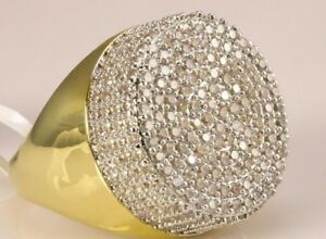 10K Yellow Gold Finish 2.00 Ct VVS1 Diamond Wedding Engagement Men's Pinky Ring