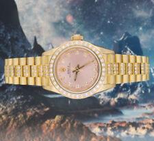 Ladies solido 18 KT oro diamante quadrante, lunetta & BRACCIALE ROLEX OYSTER PERPETUA.