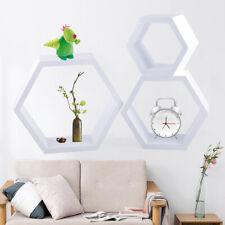 3Pcs Wall Mounted Floating Shelf Hexagon Storage Modern Style Wooden Organizer