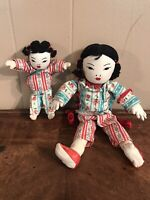 Vintage Asian Chinese Dolls Oriental Soft Body Lot of 2