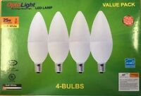 4 Pak Candelabra LED Lamp, E12 Bulbs OptoLight, Candle Bulb Soft White 3W = 25W