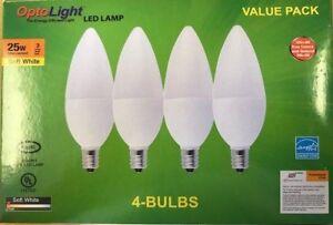 4 Pak Candelabra LED Lamp E12 Bulbs OptoLight, Candle Light Bulb 3W = 25W