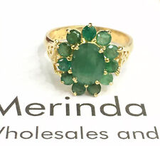 14k Solid Yellow Gold Cluster Natural Emerald Sz 7. 3.63 Grams