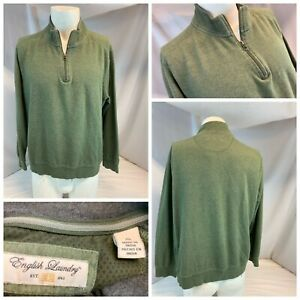 English Laundry Sweater Pullover XL Men Green ¼ Zip Cotton Poly YGI A1-334