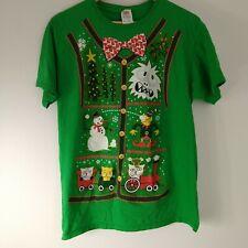 Ugly Christmas T-shirt Yeti Bow Tie Medium Green