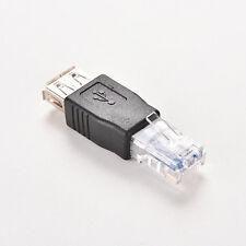 RJ45 Male to USB AF A Female Adapter Socket LAN Network Ethernet Router Plug  JR