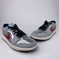 Nike Air Jordan 1 Retro Low City Chicago Mens Sz 9 Silver Red Shoes 641888-005