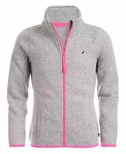 Nautica Girls' Little School Uniform Full-Zip Fleece Sweater, Grey Heather, 6
