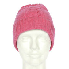 N. PEAL LONDON 100% Cashmere Pink Cable Knit Beanie Cap Hat /9241