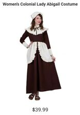 Adult Women's Pilgrim Colonial Dress Costume Brown 8/10 Medium Brown Cloth Hat