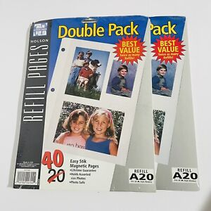 2- Holson Refill Pages A20 Double Pack 40 Easy Stik Magnetic Pages NOS Vintage
