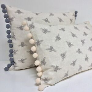 """Bumble Bee Cushion Cover Grey Ivory Vintage Fabric with Pom Pom Trim fits 12x18"""""""