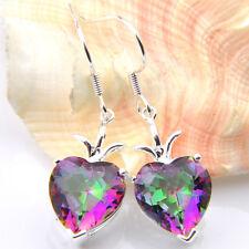 Topaz Silver Dangle Earrings Love Heart Natural Rainbow Mystic