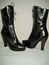 NEW Women Marc Jacobs Lace Up Side Zip Boots US 10 EU 40 Black Leather High Heel