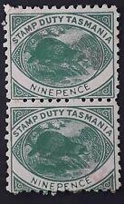 1930 Tasmania Australia Pair 9d Green Platypus Stamp Duty stamps Used