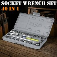 """40-Piece Ratchet Wrench Socket Tool Set METRIC/SAE 1/4"""" & 3/8"""" Drive with Case"""