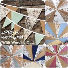 Fabric Hessian Bunting Handmade wedding Rustic Shabby Chic Lace 3-12m+Free Minis