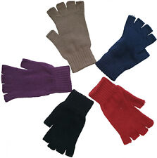 DAMEN Vintage Thermo Strick-Handschuhe HALBFINGER FINGERLOSE HANDSCHUHE M/L Neu