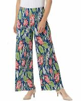 Joan Rivers Womens Floral Accordion Pleat Palazzo Pants Medium Navy A351775