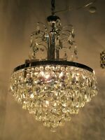 Antique French HUGE Chrome/Nickel Crystal Chandelier Lamp Lustre 1960's 18in Ø