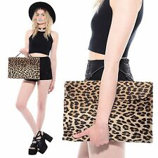 Vtg 50s 60s RONAY Oversized Leopard Print Faux Fur Large Clutch Handbag Purse