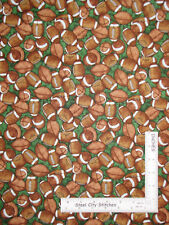 Football Sport Ball Toss Green Cotton Fabric QT Dan Morris Gridiron By The Yard
