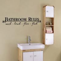 BATHROOM RULES Home Decor Wall Decals Stickers Quote BathRoom Vinyl Art DIY US