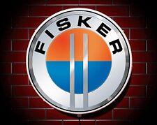 FISKER LED 600mm illuminato APPLIQUE luce da parete auto emblema GARAGE STEMMA