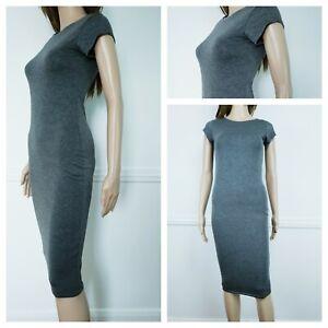 ❤️BOOHOO grey everyday knee length bodycon dress size 6-8 490