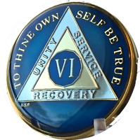 6 Year Midnight Blue AA Medallion Alcoholics Anonymous Chip Gold Tri-Plate Six