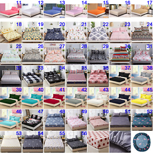 Elastic Floral  Fitted Sheet Set Double Queen King All Size Mattress Protector