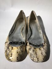 Saks Fifth Avenue Beige Snakeskin Leather Silver Studs Flats Shoes Women's 8M 38